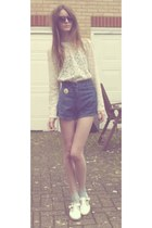 navy high waisted vintage shorts - light blue ankle Topshop socks
