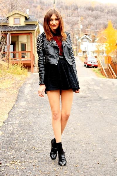 black skirt - crimson On My Love top