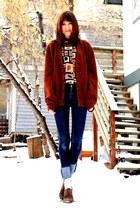 dark brown vintage sweater - navy Cheap Monday jeans - eggshell vintage blouse