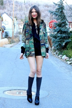 army green vintage jacket - black vintage shorts - black vintage blouse
