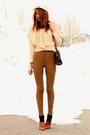 Cream-topin-sweater-bronze-american-apparel-pants-dark-brown-vintage-bag