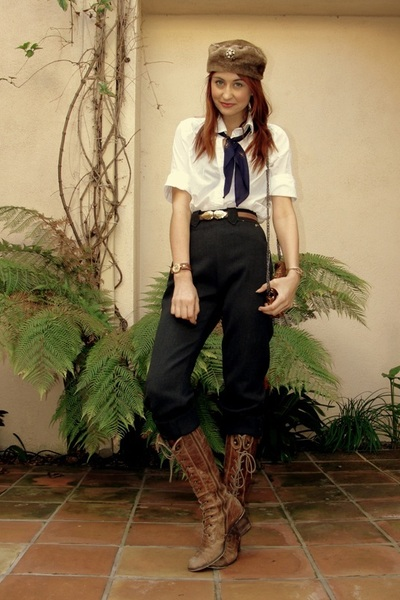 brown vintage hat - white Forever 21 shirt - gray vintage pants