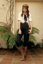 brown vintage hat - white Forever 21 shirt - gray vintage pants