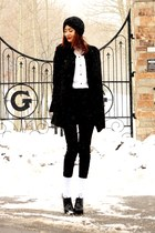 white vintage blouse - black Piko jacket - black H&M pants - black Aldo heels