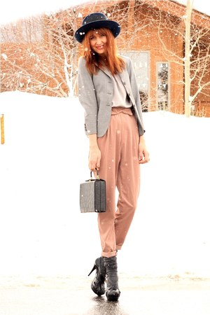light pink modcloth pants - periwinkle thrifted blazer - periwinkle vince blouse
