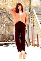 light pink sweater - neutral vintage blouse - crimson vintage pants