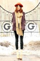 tawny vintage hat - puce vintage jacket - neutral H&M scarf