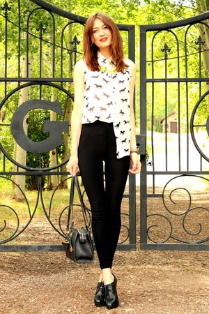 white blouse - black American Apparel pants - yellow necklace - black Aldo heels