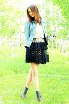 polka dot vintage skirt - lace apron vintage skirt - vintage levi jacket