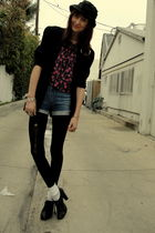 black thrift blazer - pink Goodwill top - black acne shorts