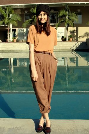 brown thift pants - gold thrift blouse