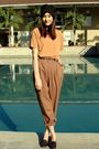 Brown-thift-pants-gold-thrift-blouse