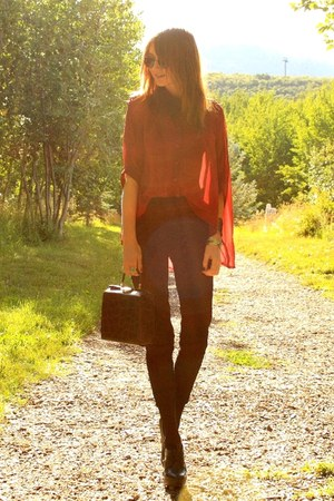 black vintage pants - brick red Courtesy of Romwe blouse - black Aldo heels
