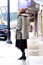 Dark-khaki-vintage-coat-black-cleobella-bag-maroon-thrifted-skirt