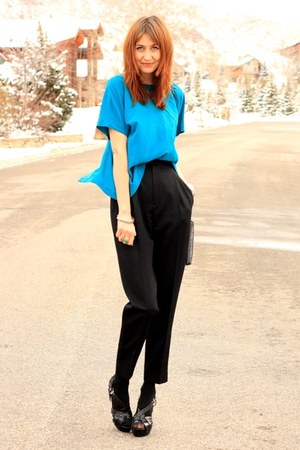 black thrifted pants - turquoise blue thrifted blouse
