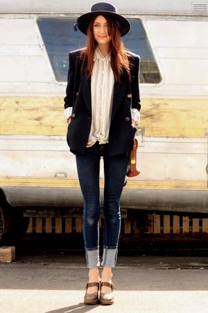 blue thirfted coat - blue Cheap Monday jeans - brown Frye shoes