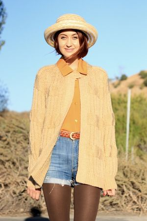 beige NOS Vintage sweater - gold thrift top - blue acne shorts - brown Frye shoe