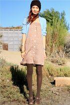 pink vintage dress - blue vintage sweater