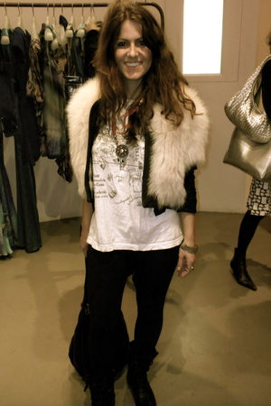 white Matthew Williamson vest - white ex-bf t-shirt - black BDG leggings - black