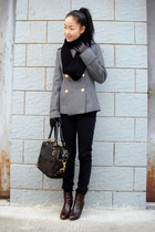 black H&M scarf - silver coat - black H&M jeans - brown shoes