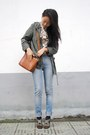 Forest-green-h-m-coat-sky-blue-h-m-jeans-vintage-shirt