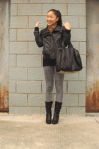 gold scarf - black Zara jacket - gray jeans - black shoes