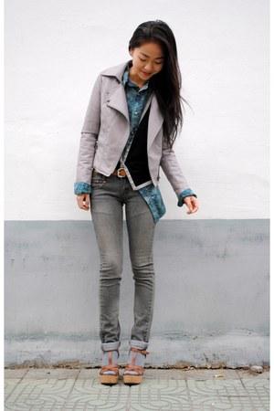 silver vintage jacket - heather gray Levis jeans - turquoise blue vintage shirt