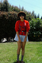 red vintage sweater - blue vintage shorts - brown vintage hat