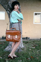blue blouse - gray shorts - brown shoes - brown accessories