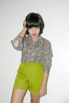 green vintage shorts - gray vintage shirt