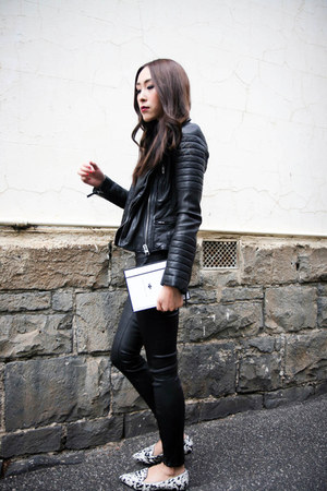 black leather All Saints jacket - black leather J Brand leggings