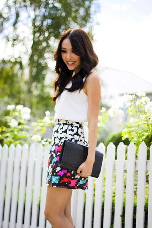 white wrap Nanette Lepore skirt - black patent YSL bag - ivory Zara blouse
