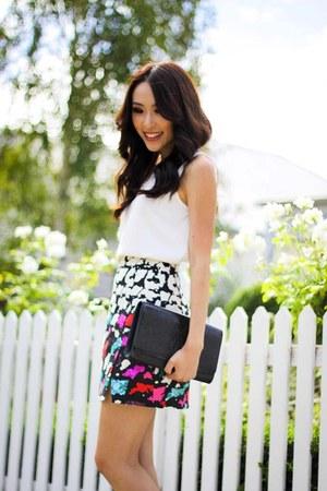 white wrap Nanette Lepore skirt - black patent YSL bag - ivory Zara blouse
