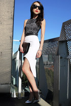 white laser cut asos dress - black patent YSL bag - black studded Zara belt