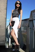 white laser cut asos dress - black patent YSL bag - black studded Zara belt