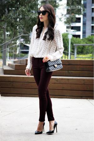 crimson coloured Topshop jeans - black quilted leather Chanel bag