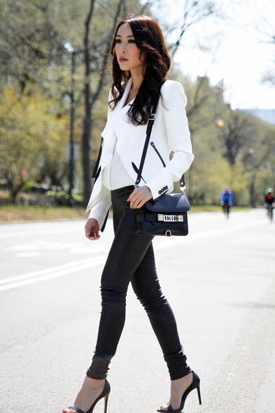 white Helmut Lang jacket - black PROENZA SCHOULER bag