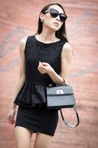black patent Louis Vuitton bag - black beaded asos blouse