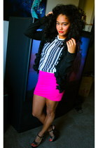 hot pink DIY skirt - black ruffled Target cardigan