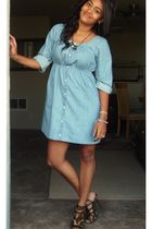 blue H&M dress - gold TJMaxx shoes - black hemp in the heartland necklace - brow