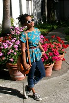 turquoise blue floral Thrift Store blouse