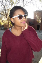 brick red Sweater jumper - polka dots Forever 21 glasses