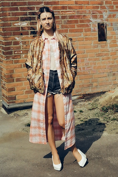 salmon long shirt H&M dress - bronze bomber H&M Trend jacket