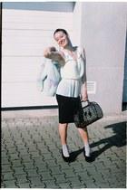 plastic H&M bag - paris thrifted sweater - silver H&M socks - H&M wedges