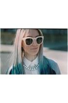 neon H&M necklace - varsity H&M jacket - H&M Trend shirt - H&M Trend glasses