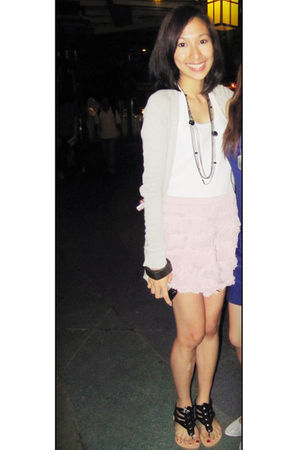 silver Terranova cardigan - white Mango top - pink Forever 21 skirt - black Carm