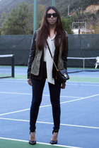 black Michael Kors bag - army green pull&bear jacket - navy Atmosphere leggings