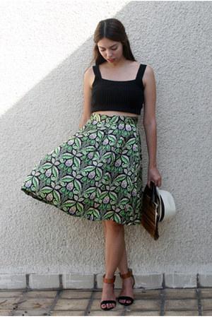 dark green Zara skirt - black Steve Madden sandals