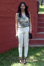 lime green H&M blouse - white Forever 21 jeans - ruby red Forever 21 bag