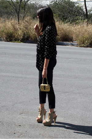 cream PERUGIA boots - gold Juicy Couture bag - black Forever 21 cardigan